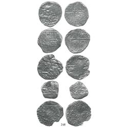 Lot of 5 Potosí, Bolivia, cob 4 reales, Philip II/III, assayers R, Q, and not visible (3), Grades 2-