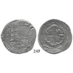 "Potosí, Bolivia, cob 2 reales, Philip II, P-B (1st period, ""Lima style""), scarce, Grade 1."