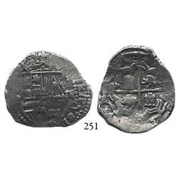 Potosí, Bolivia, cob 2 reales, Philip III, assayer R, Grade 1.