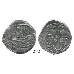Potosí, Bolivia, cob 2 reales, Philip III, assayer M, Grade 1.