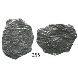 Potosí, Bolivia, cob 2 reales, Philip III, assayer T, Grade 4.