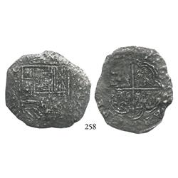 Cartagena, Colombia, cob 8 reales, (1621-22), RN-A, rare, no certificate (Grade-2 quality).