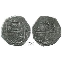 Cartagena, Colombia, cob 4 reales, (16)22A, mintmark RN, very rare, very choice Grade-1 quality (Gra
