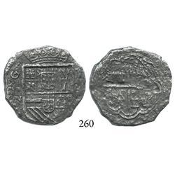 Cartagena, Colombia, cob 4 reales, (1622)(A), mintmark RN, rare, Grade 3 (Grade-2 quality).