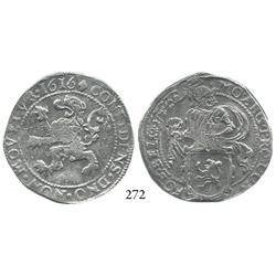 """Westfriesland, United Netherlands, half """"lion"""" daalder, 1616, scarce."""