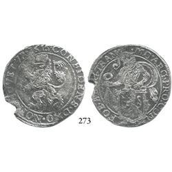 """Overijssel, United Netherlands, half """"lion"""" daalder, 1616, scarce."""