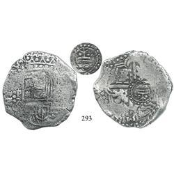 Potosí, Bolivia, cob 8 reales, (1649)O/Z, with crown alone countermark (very rare, attributable to A