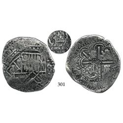 Potosí, Bolivia, cob 8 reales, (1649)(O?), with crowned c (?) countermark (rare) on cross side.