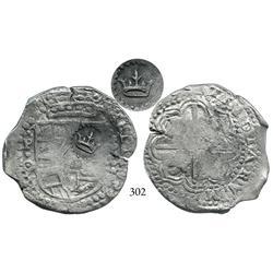 Potosí, Bolivia, cob 8 reales, (164)9O, with crown alone countermark (rare) on shield side.