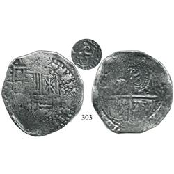 Potosí, Bolivia, cob 8 reales, (1649)(O), with crowned O countermark on cross side.