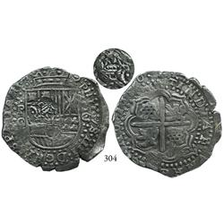 Potosí, Bolivia, cob 8 reales, 1650O, with crowned •PH• countermark on cross side, choice and Royal-