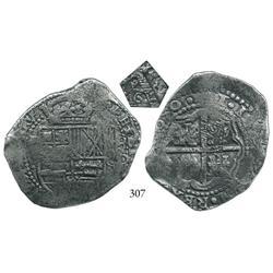 Potosí, Bolivia, cob 8 reales, (1)650O, with pentagonal 1652 countermark (rare) on cross side.