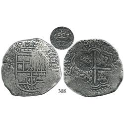 Potosí, Bolivia, cob 8 reales, (165)0O, with crowned o countermark (rare) on cross side.