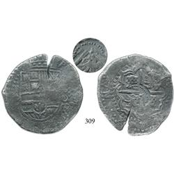 Potosí, Bolivia, cob 8 reales, (1650)O, with crown alone countermark (very rare) on cross side.