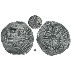 Potosí, Bolivia, cob 8 reales, 1650O, with crowned (?) on cross side, choice.