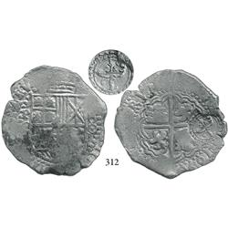 Potosí, Bolivia, cob 8 reales, 1650O, date at 5 o'clock, with full crowned script-F or script-L (uni