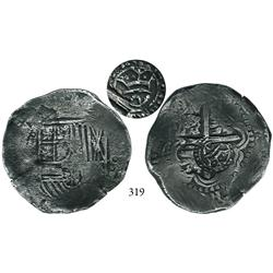 Potosí, Bolivia, cob 8 reales, (1650-51)O, with crowned script-a countermark (rare, attributed to Ar