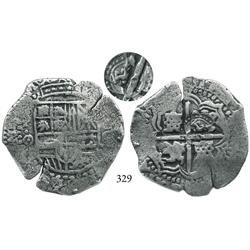 Potosí, Bolivia, cob 8 reales, (1650-1)O, with crowned G countermark (rare) on cross side.