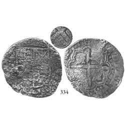 Potosí, Bolivia, cob 8 reales, (1650-1)O, with crowned (?) countermark on cross side.