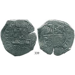 Potosí, Bolivia, cob 8 reales, (1651-2)E, with 2 countermarks (very rare): crown alone on shield sid