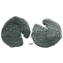 Potosí, Bolivia, cob 8 reales, (1651-2)E, with full crown alone countermark on shield.