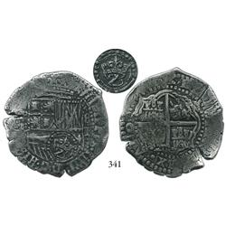 Potosí, Bolivia, cob 8 reales, (1651-2)E, with crowned Z (very rare) countermark on shield side, cho