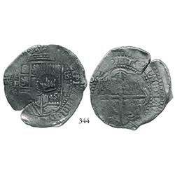 Potosí, Bolivia, cob 8 reales, 16(51-2)E, with crown alone countermark on shield, choice.