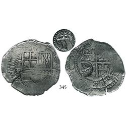 Potosí, Bolivia, cob 8 reales, (1651-2)E, with crowned (?) countermark on cross side.