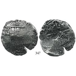 Potosí, Bolivia, cob 8 reales, (1650-2)(O or E), with 2 countermarks (very rare): crowned L and crow