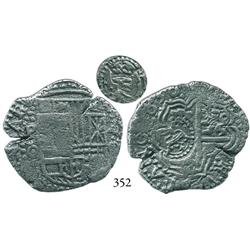 Potosí, Bolivia, cob 4 reales, 1650O, with crowned-L countermark on cross side.