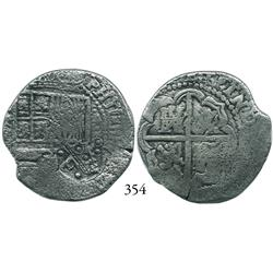Potosí, Bolivia, cob 4 reales, (1650-1)O, with crowned •F• (4 dots) countermark on shield side, KM P