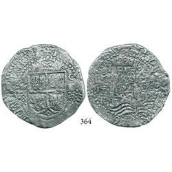 Potosí, Bolivia, cob 8 reales, 1652E transitional, McLean Type VIII/A.