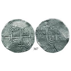 Potosí, Bolivia, cob 8 reales, 1653E.