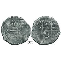 Potosí, Bolivia, cob 4 reales, 1653E.