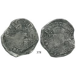 Potosí, Bolivia, cob 8 reales, 1652E transitional, McLean Type IV/A, scarce.
