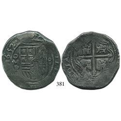 Mexico City, Mexico, cob 8 reales, 1652P.