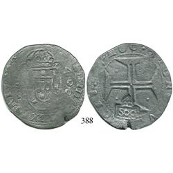 "Lisbon, Portugal, 400 reis, John IV, with ""S00"" (500 reis, 1663) countermark of Brazil."