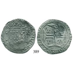 "Porto, Portugal, 200 reis, John IV, with ""2S0"" (250 reis, 1663) countermark of Brazil."