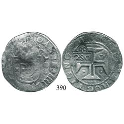 "Lisbon, Portugal, 200 reis, John IV, with ""2S0"" (250 reis, 1663) countermark of Brazil)."