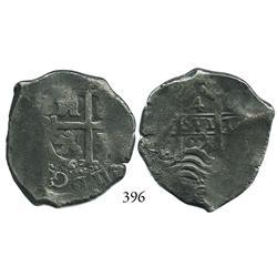 Potosí, Bolivia, cob 4 reales, 1667E, Charles II (ordinal visible).