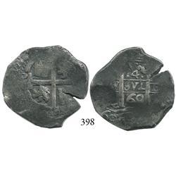 Potosí, Bolivia, cob 4 reales, 1669E.