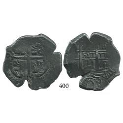 Potosí, Bolivia, cob 4 reales, 1671E.