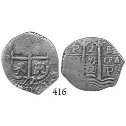 Potosí, Bolivia, cob 2 reales, 1672/1E, rare.