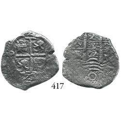 Potosí, Bolivia, cob 2 reales, 1672E.