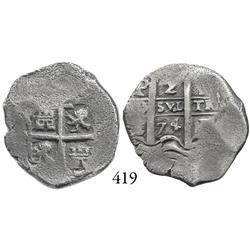 Potosí, Bolivia, cob 2 reales, 1674E.