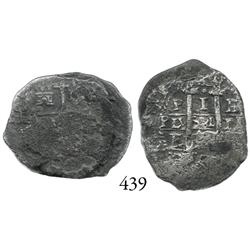Partially cleaned 2-coin clump of Potosí, Bolivia, cob 1 reales.