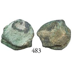 """Greenie"" clump of 2 Mexico City, Mexico, cob 1 or 1/2 reales."