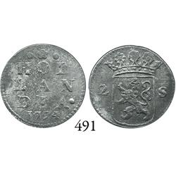 Holland, United Netherlands, 2 stuivers, 1724.