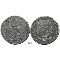 Mexico City, Mexico, pillar 8 reales, Philip V, 1733MF.