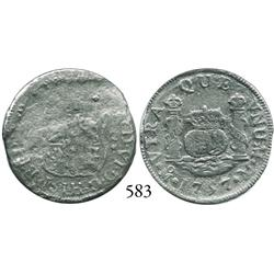 Mexico City, Mexico, pillar 2 reales, Ferdinand VI, 1757M (crowns alike), rare type from this wreck.
